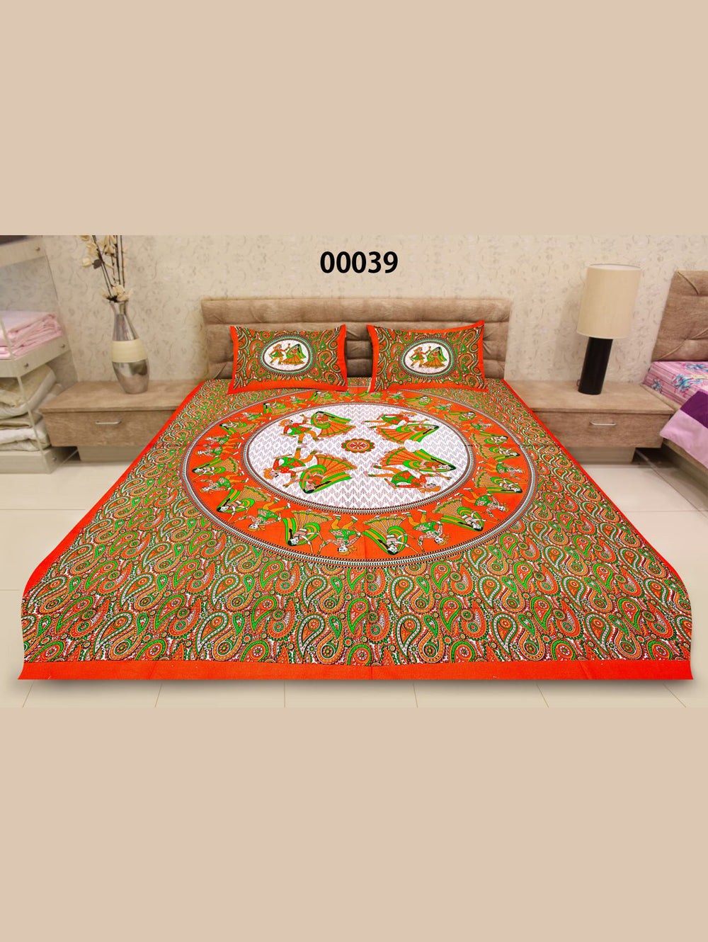00039BrightOrange and Multicolour Traditional Queen Size Bedsheet With 2 Pillow Covers