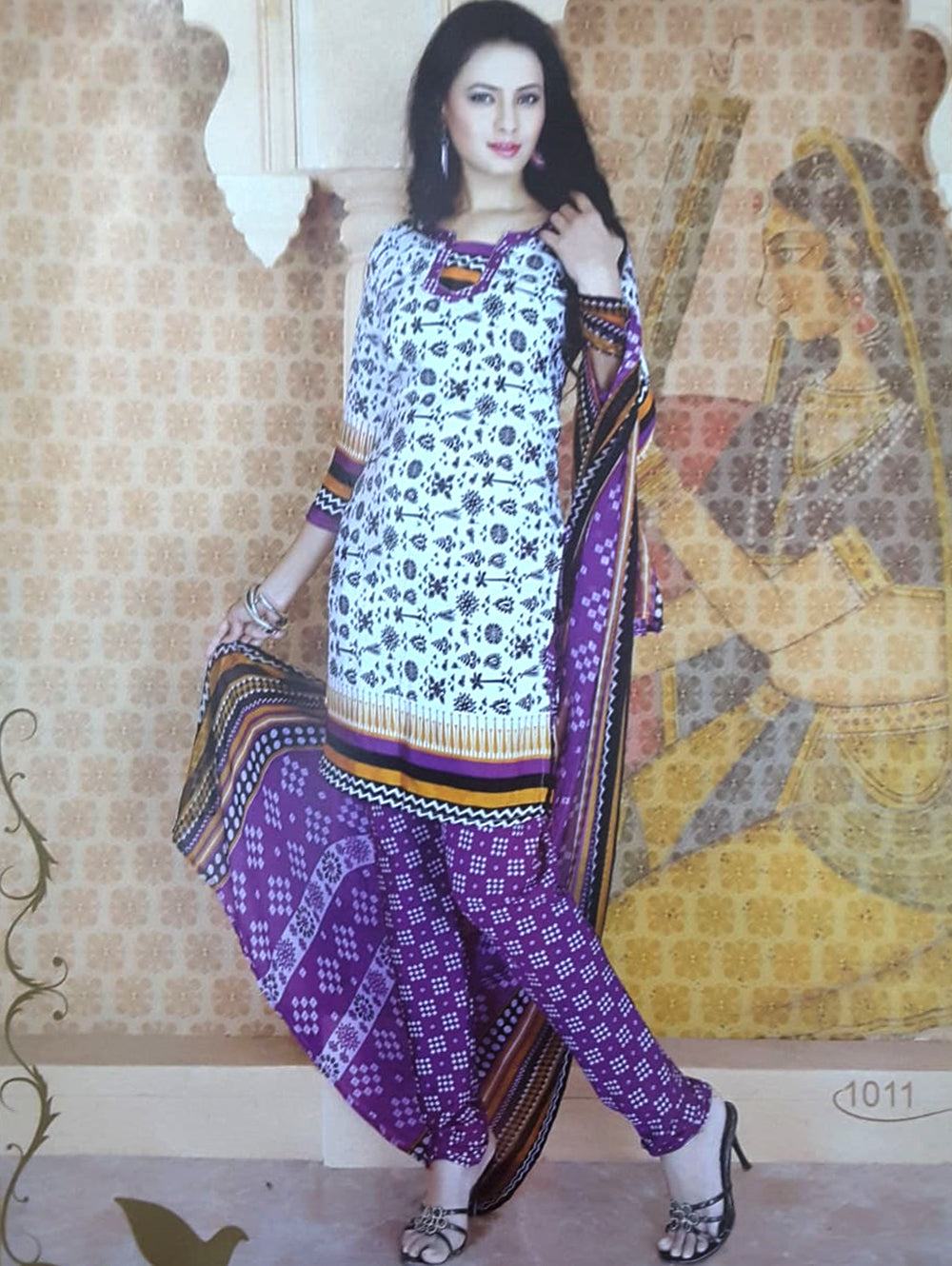 White and Purple Printed Salwar Suit