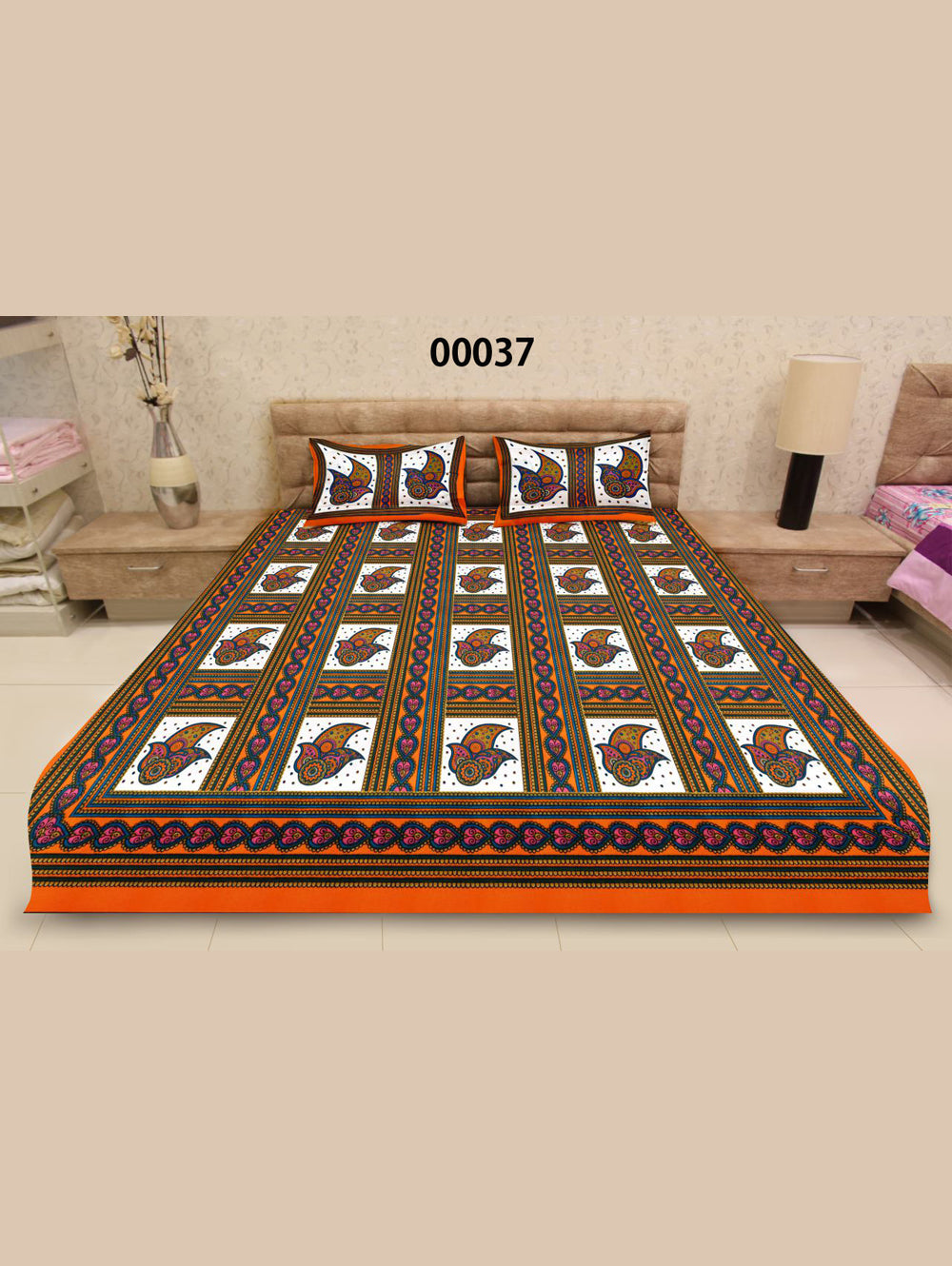 00037FantaOrange and Multicolour Ethnic Cotton Queen Size Floral Bedsheet With 2 Pillow Covers