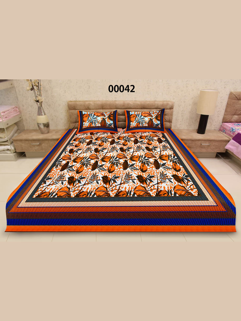 00042Orange and White Ethnic Cotton Queen Size Floral Bedsheet With 2 Pillow Covers