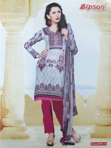 Grey and Magenta Cotton Straight Suit
