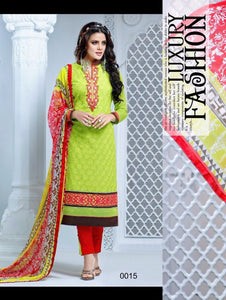 Green Yellow and Red Cambric Cotton Straight Suit