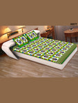 00077ParrotGreen and White Traditional Cotton Queen Size Bedsheet With 2 Pillow Covers