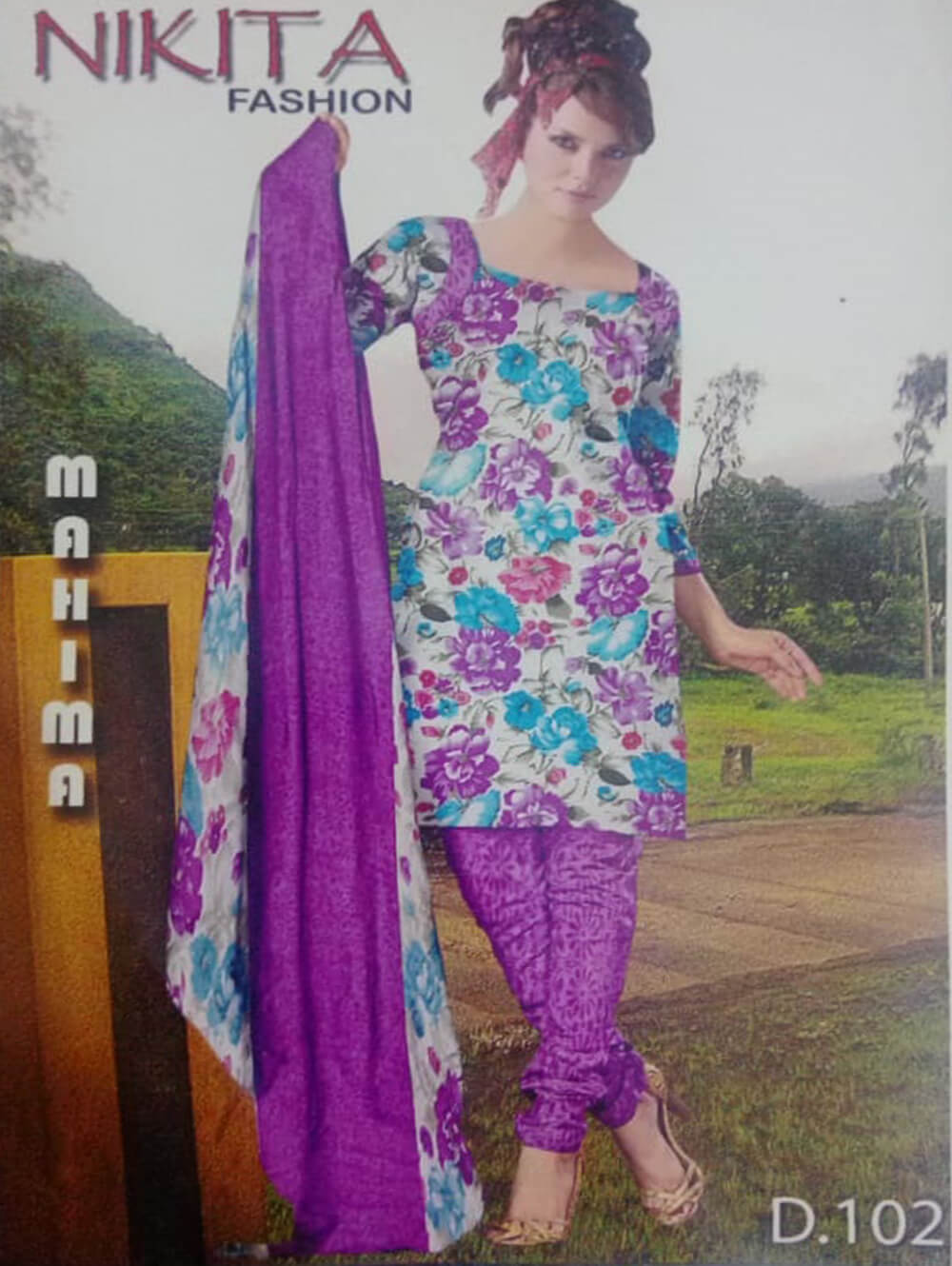 White and Lavender Printed Salwar Suit