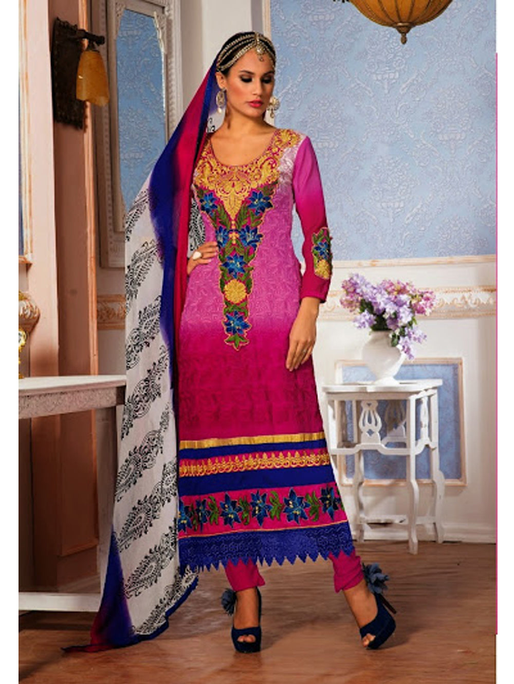 Dark Magenta and Sea Blue Party Wear Georgette Straight Suit
