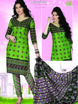 Parrot Green and Black Chudidar Suit