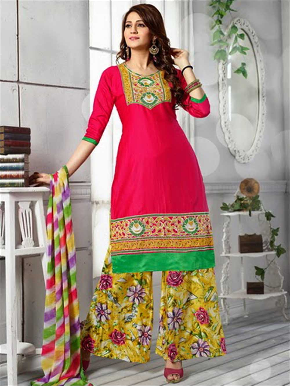 Bright Magenta and Multicolour Daily Wear Cotton Palazzo Suit