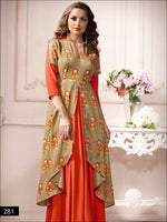 Orange and Beige Designer L Size Stitched Gown