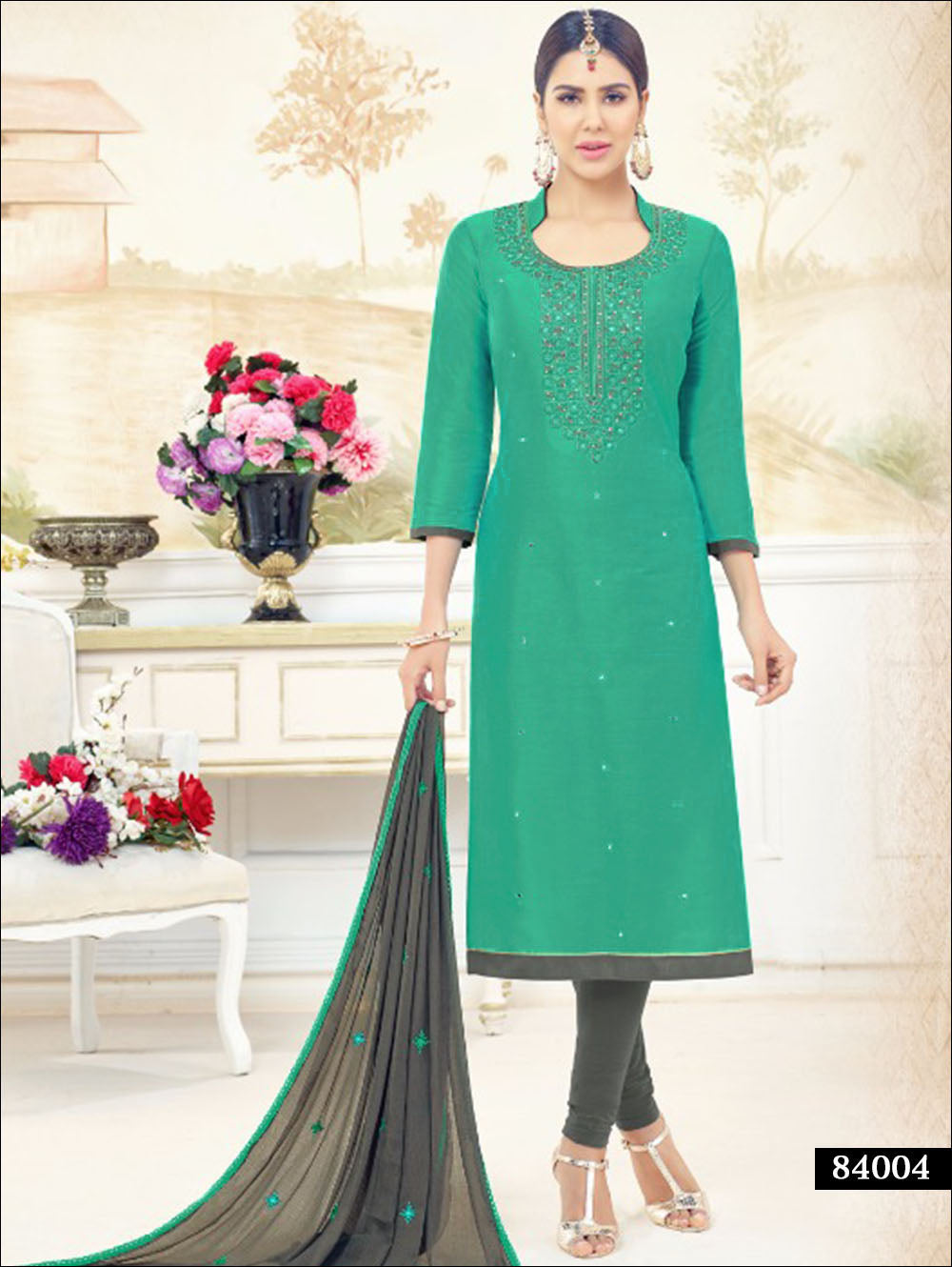 Sea Green Designer Salwar Suit