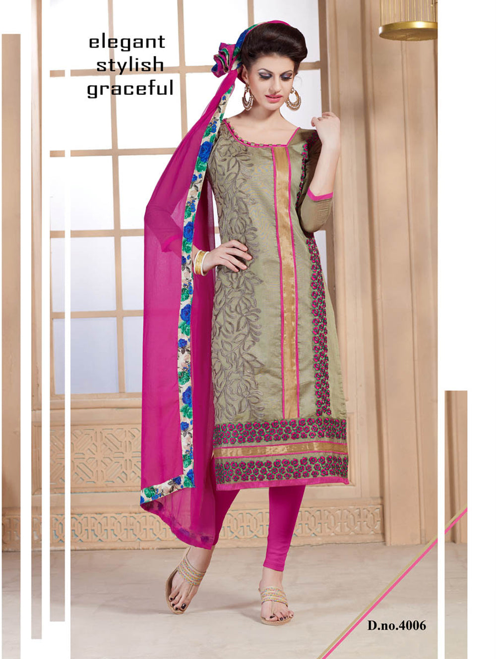 Sandy Brown and Magenta Daily Wear Chanderi Straight Suit