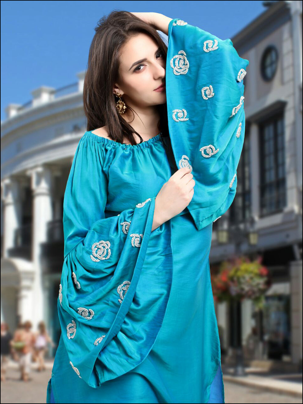 Blue Designer Tunic with Pants