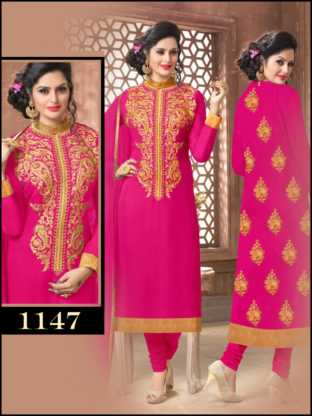 Magenta Latest Occasional Wear Straight Suit