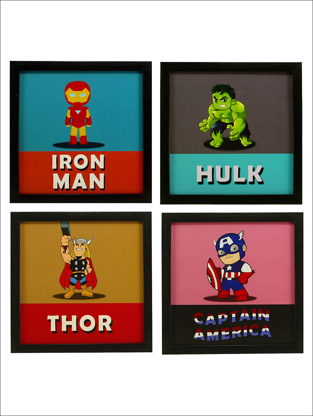 Indianara 4 Piece Set Of Framed Wall Hanging Kids Room Decor Iron Man Hulk Thor Captain America Art Prints Without Glass