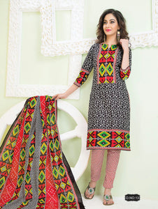 Black White and Multicolour Pali Camric Cotton Daily Wear Straight Suit