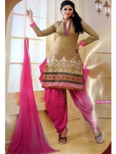 Desert and Pink Daily Wear Patiala Suit