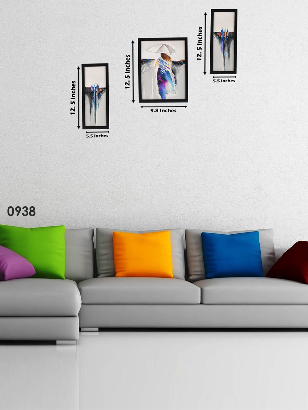 3 Pc Set Of Modern Abstract Paintings Without