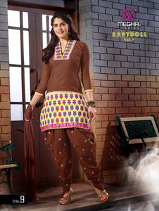 Brown and Ivory Embroidered Cotton Patiyala Suit