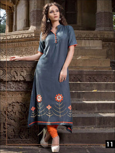 Bluish Grey Gown type Stitched kurti
