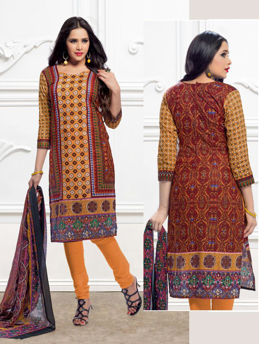 Orange and Multicolour Printed Pure Cotton Party Wear Pakistani Style Indian Suit
