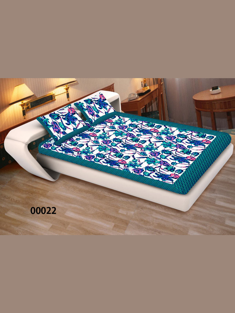 00022SeaGreen and Multicolour Ethnic Cotton Queen Size Floral Bedsheet With 2 Pillow Covers