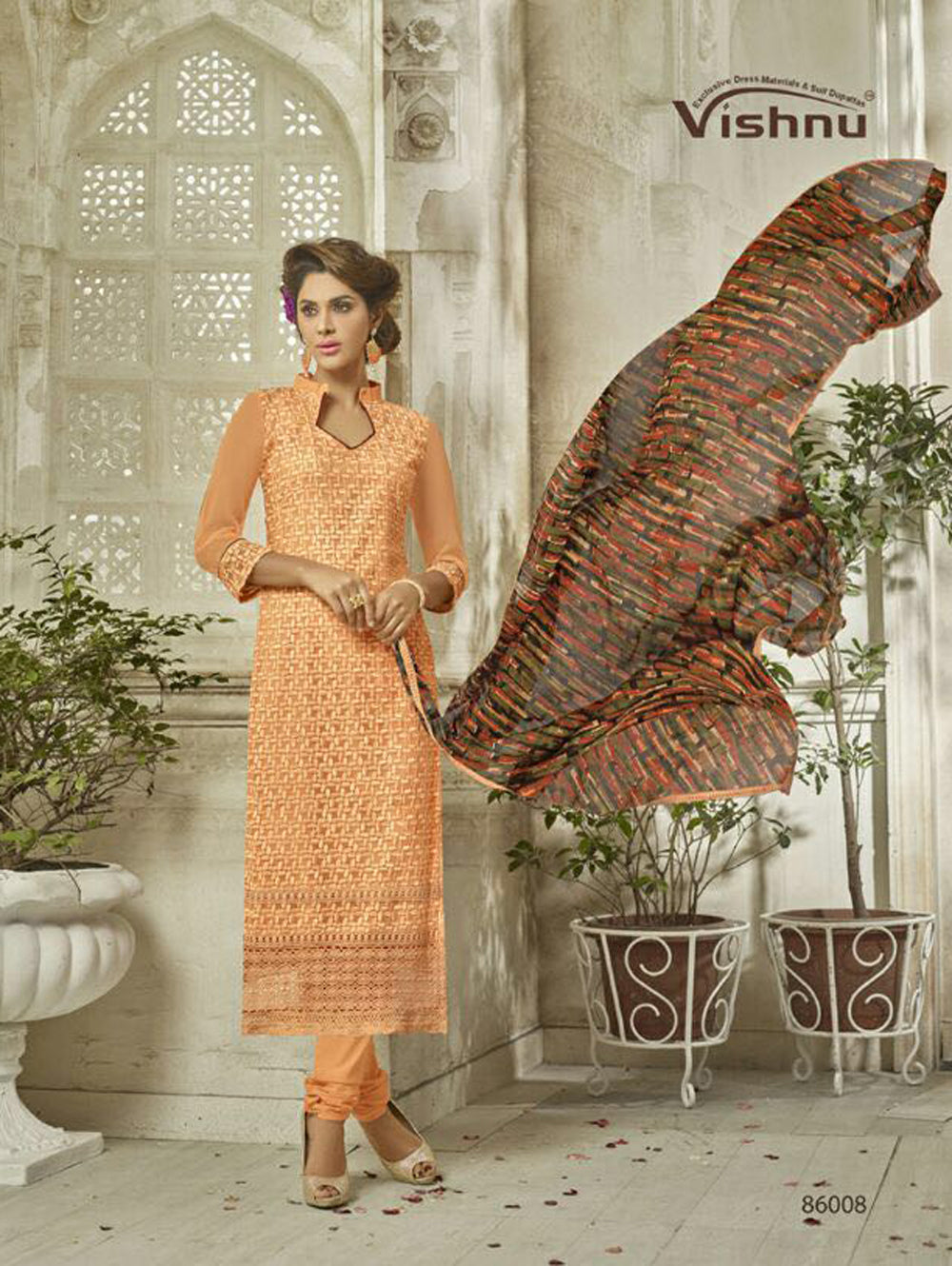 Orange Exclusive Fancy Designer Straight Suit