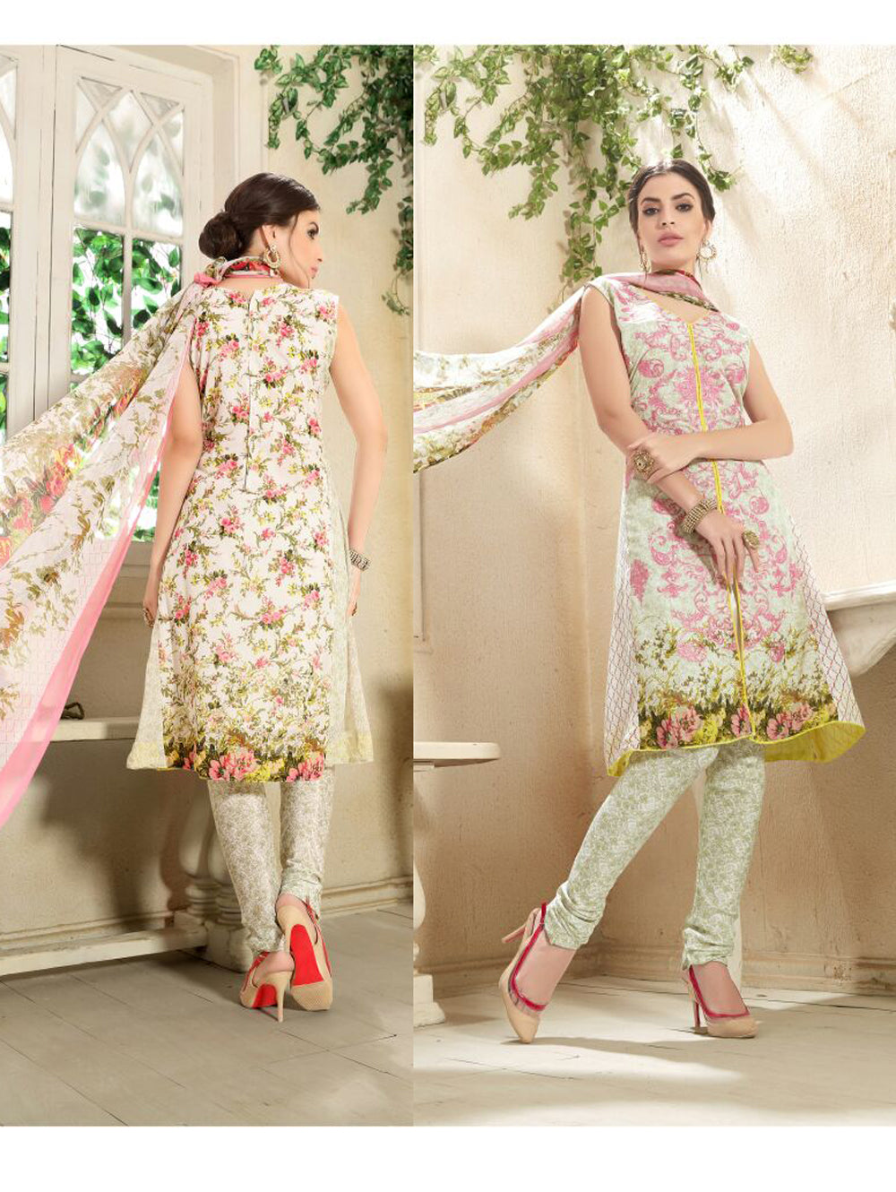 Ivory and Pink Printed and Embroidered Faux Georgette Party Wear Straight Suit