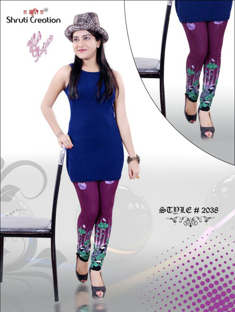 Purple and Multicolour Designer Printed Polyester Leggings