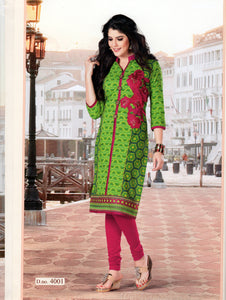 Light Green and Pink Embroidered Cotton Daily Wear Kurti