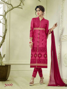 Magenta and Maroon Embroidered Glace Cotton Daily Wear Straight Suit