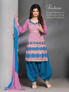 Cotton Candy and Dark Sky-blue Party Wear Chanderi Patiyala Suit