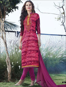 and Magenta Printed Embroidered Glace Cotton Daily Wear Straight Suit