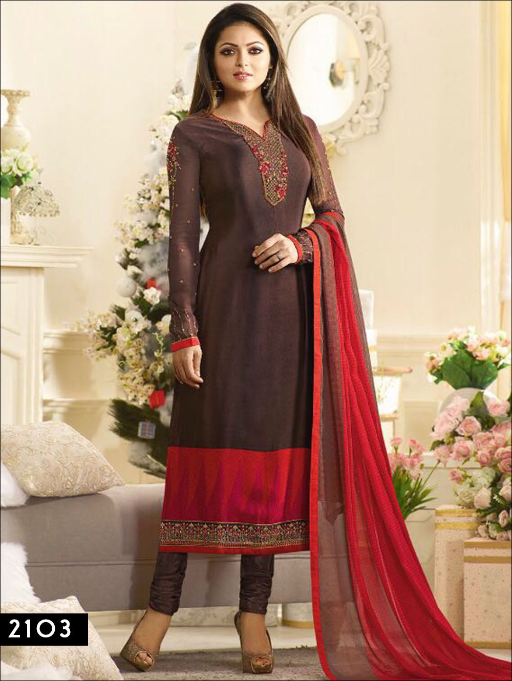 Dark Brown Designer Straight Suit