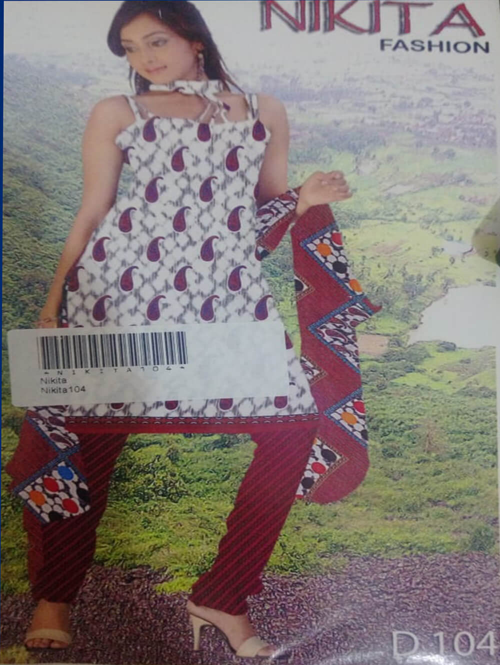 White and Maroon Printed Salwar Suit