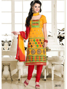 Yellow Designer Chanderi Chudidar Suit