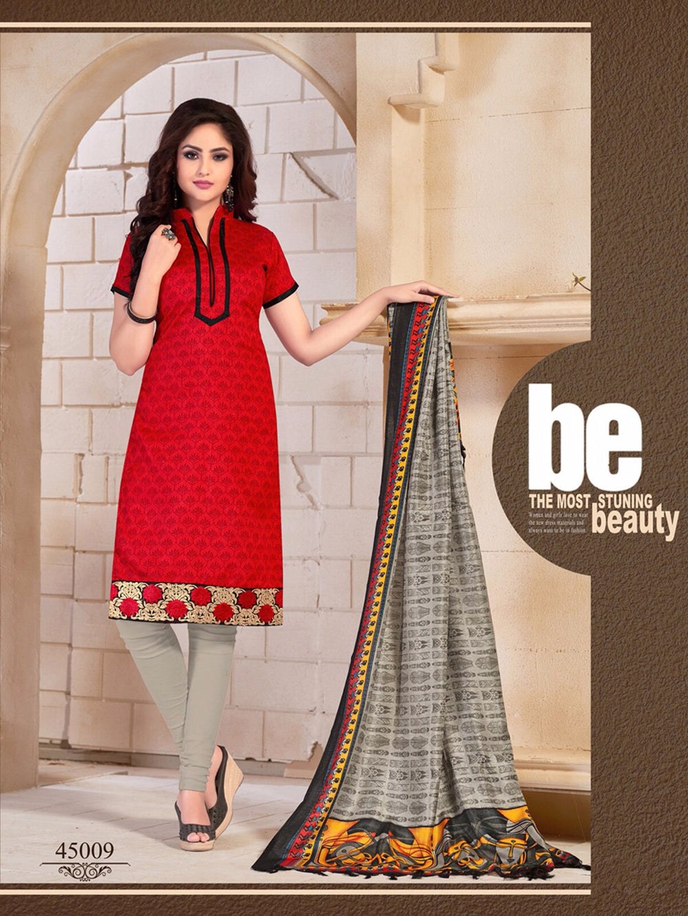 Red and Grey Daily Wear Bangalore Silk Chudidar Suit