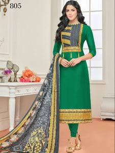 Green Designer Cotton Straight Suit