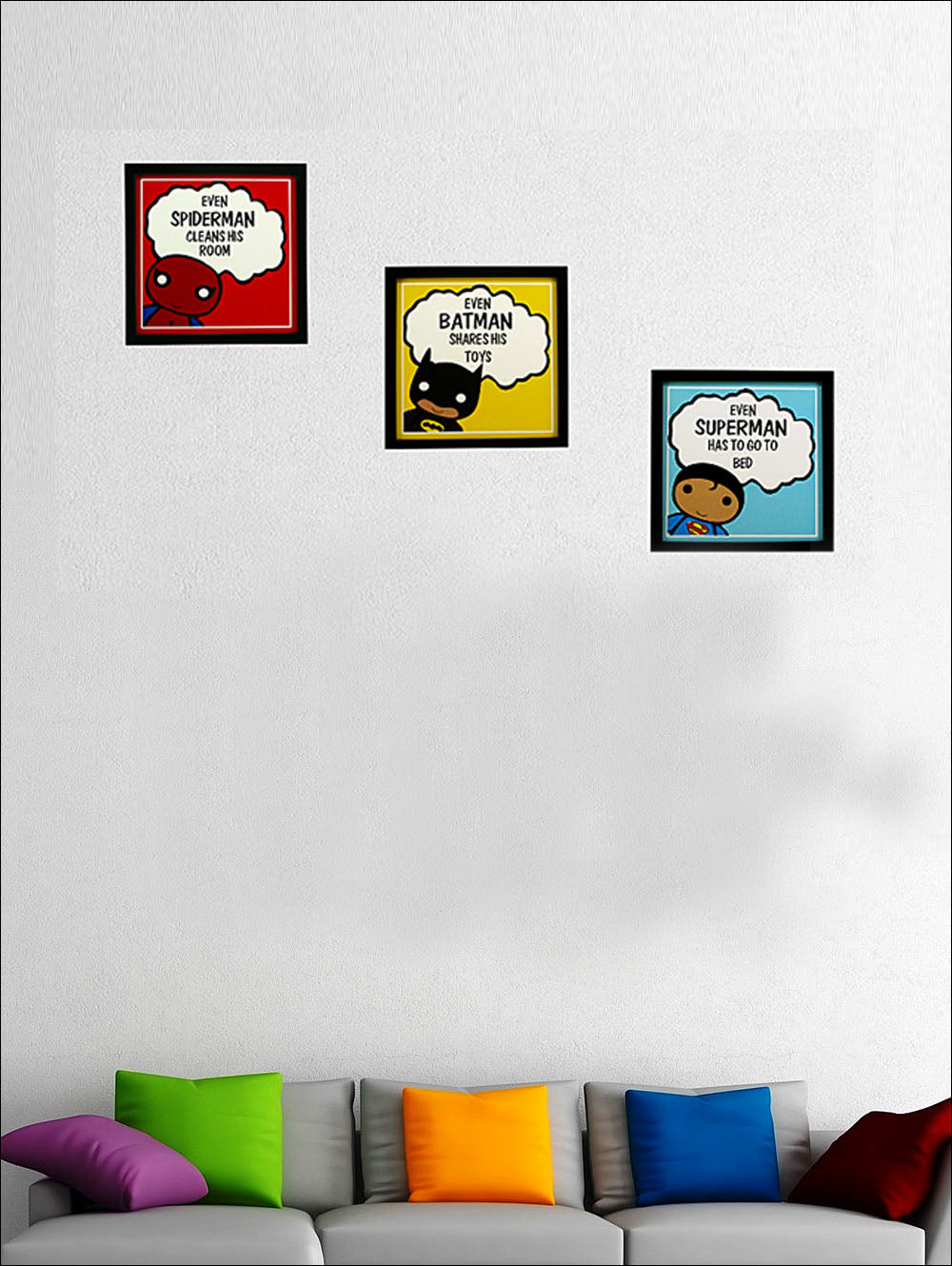 Indianara 3 Piece Set Of Framed Wall Hanging Kids Room Decor Spiderman Batman Superman Art Prints Without Glass