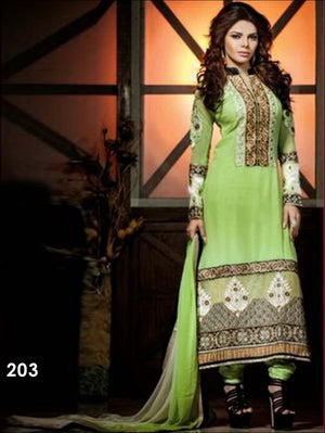Light Green and Black Designer Georgette Straight Suit