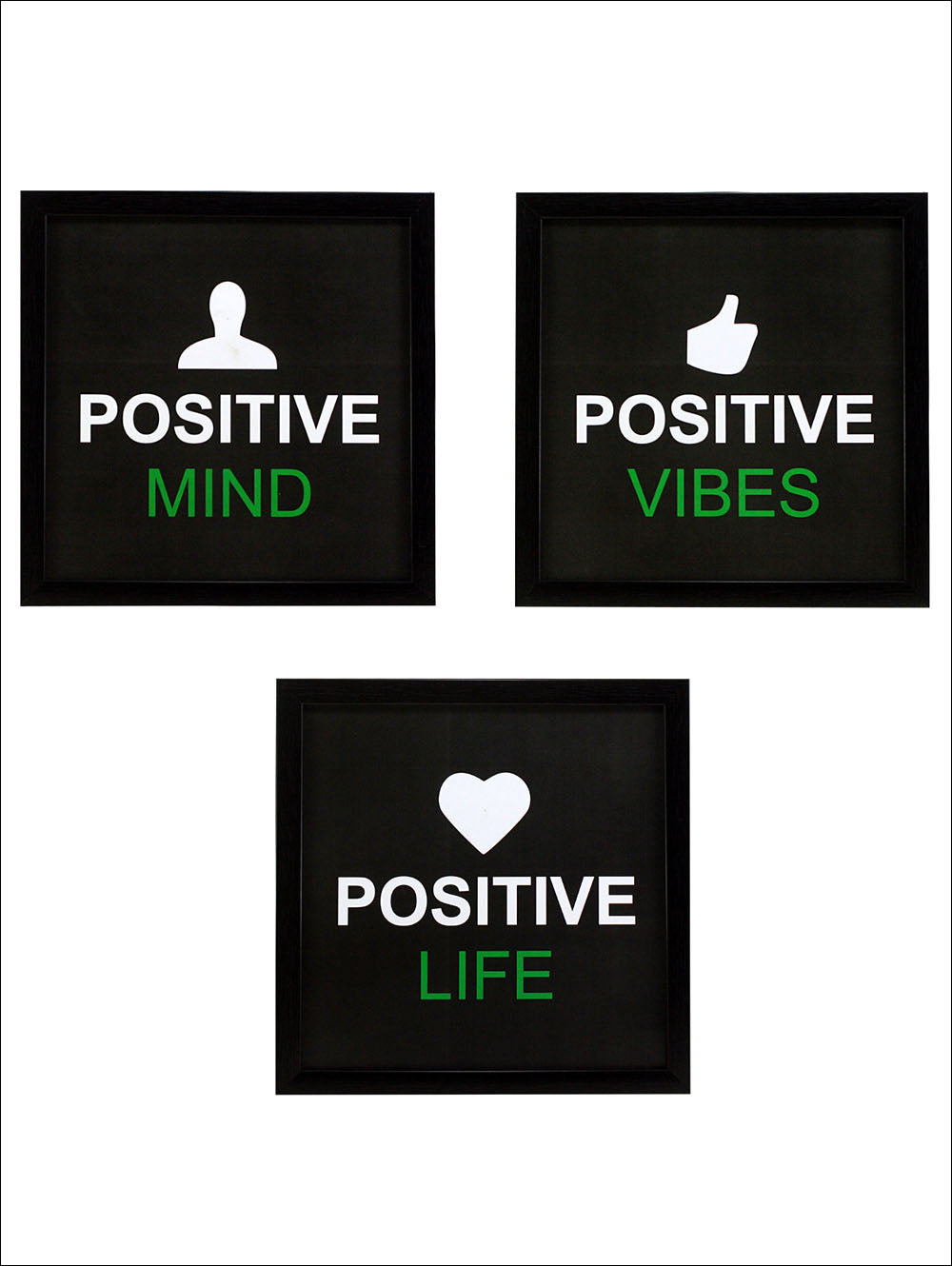 3 Piece Set Of Framed Wall Hanging Motivational Spiritual Art Prints Positive Mind Vibes Life Without Glass