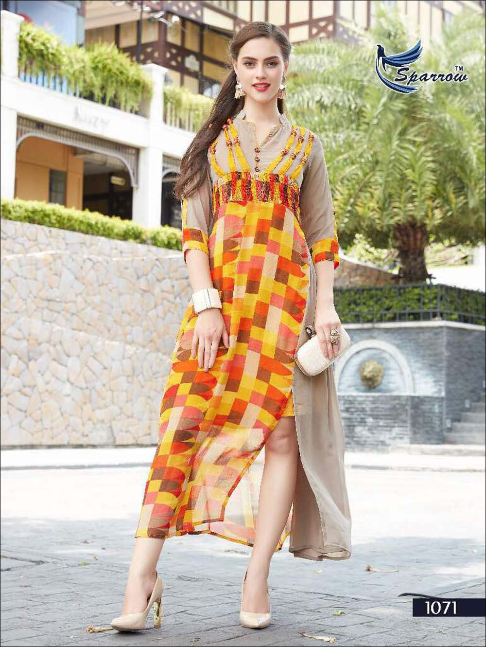 Yellow And Multicolour Designer Kurti