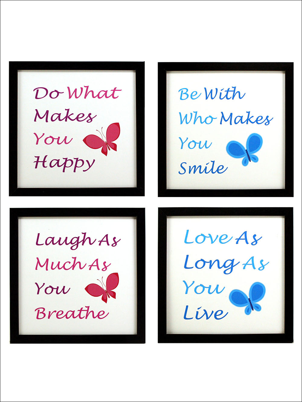 Indianara 4 Piece Set Of Framed Wall Hanging Motivational Happy Smile Laugh Love Spiritual Art Prints Without Glass