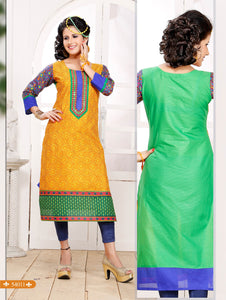 Orange and Green Embroidered Printed Cotton Party Wear Stitched Kurti