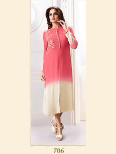 Brink Pink Exclusive Fancy Designer Georgette Kurti