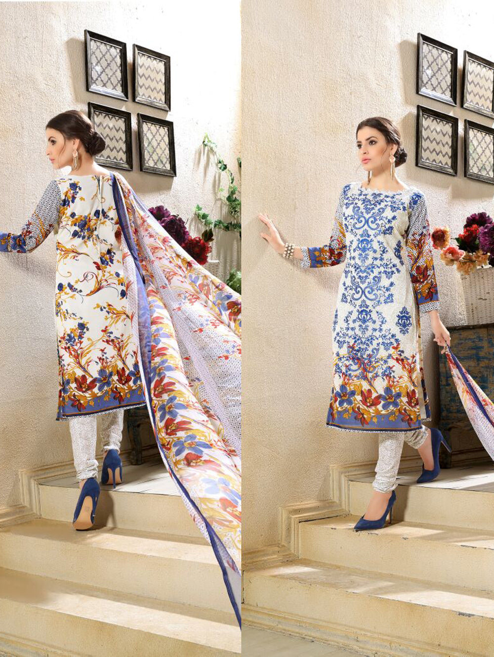 Royal Blue and Multicolour Printed and Embroidered Faux Georgette Party Wear Straight Suit