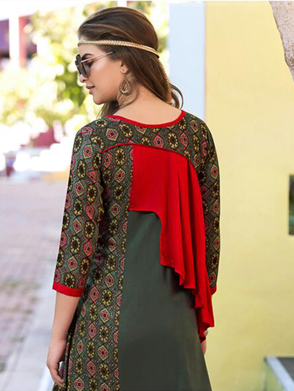 Dark Green and Red Designer Stitched Kurti