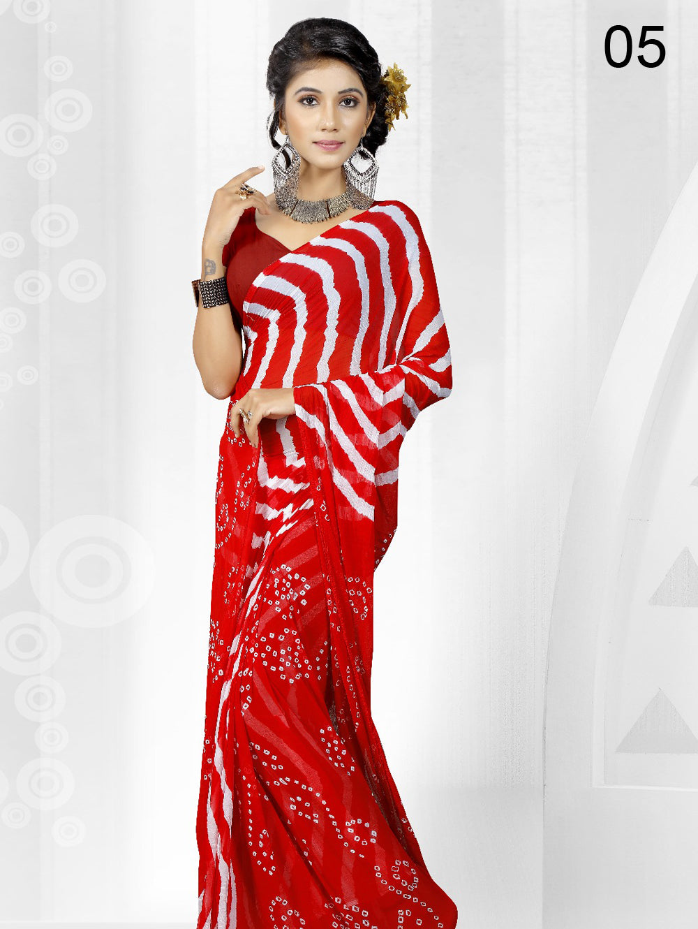 Red Exclusive Designer Laheriya Sarees