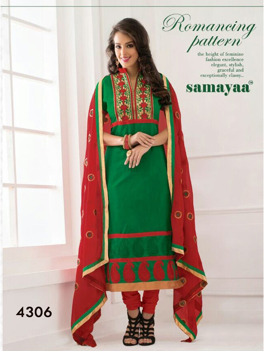 Green and Red Chudidar Suit
