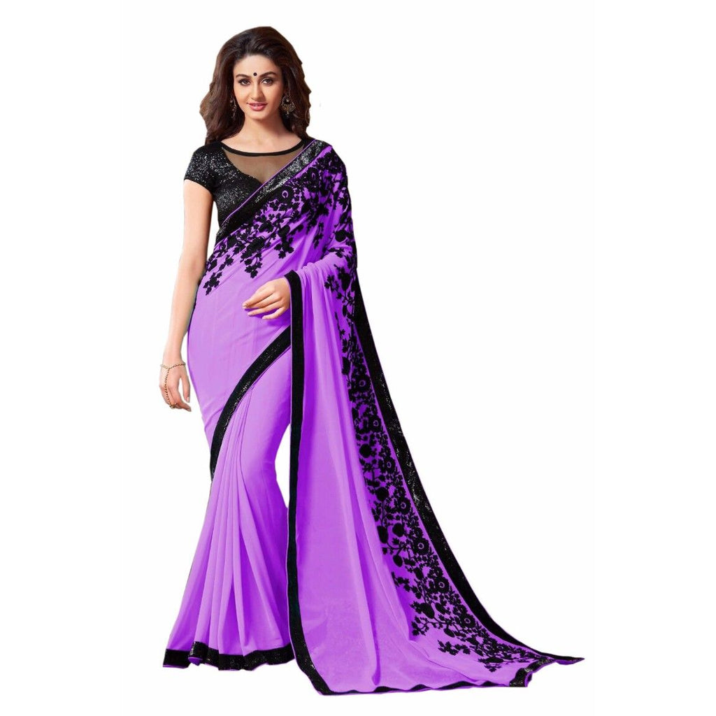 Purple Blended Georgette Designer Saree With Blouse