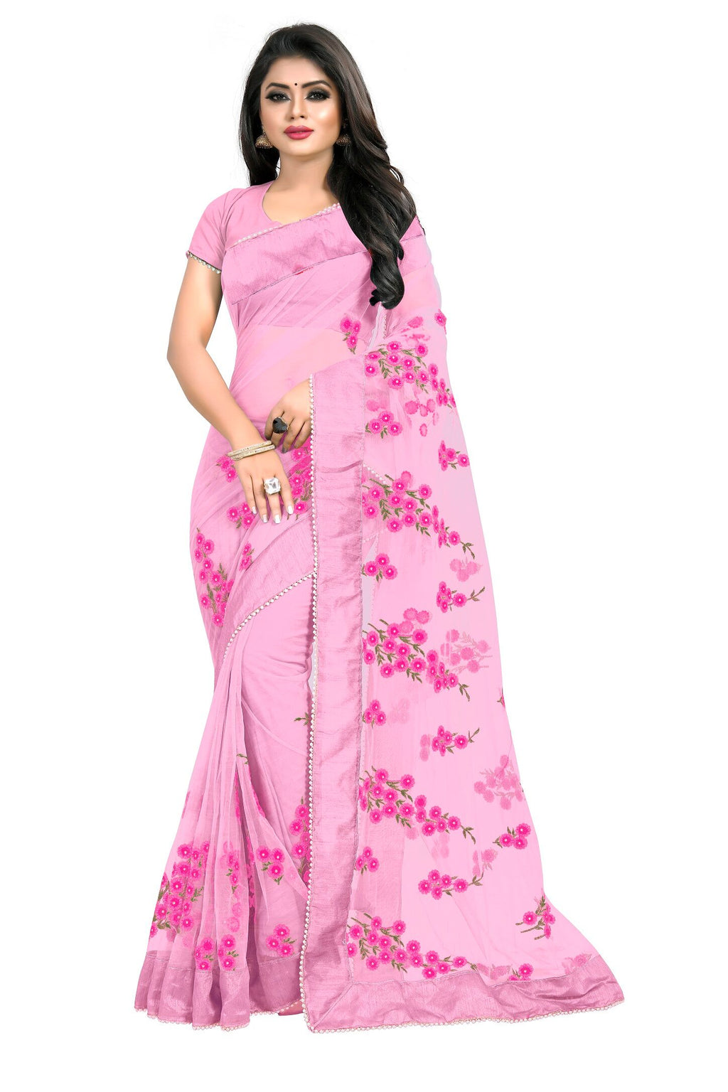 Pink Bandhej Designer Saree With Blouse