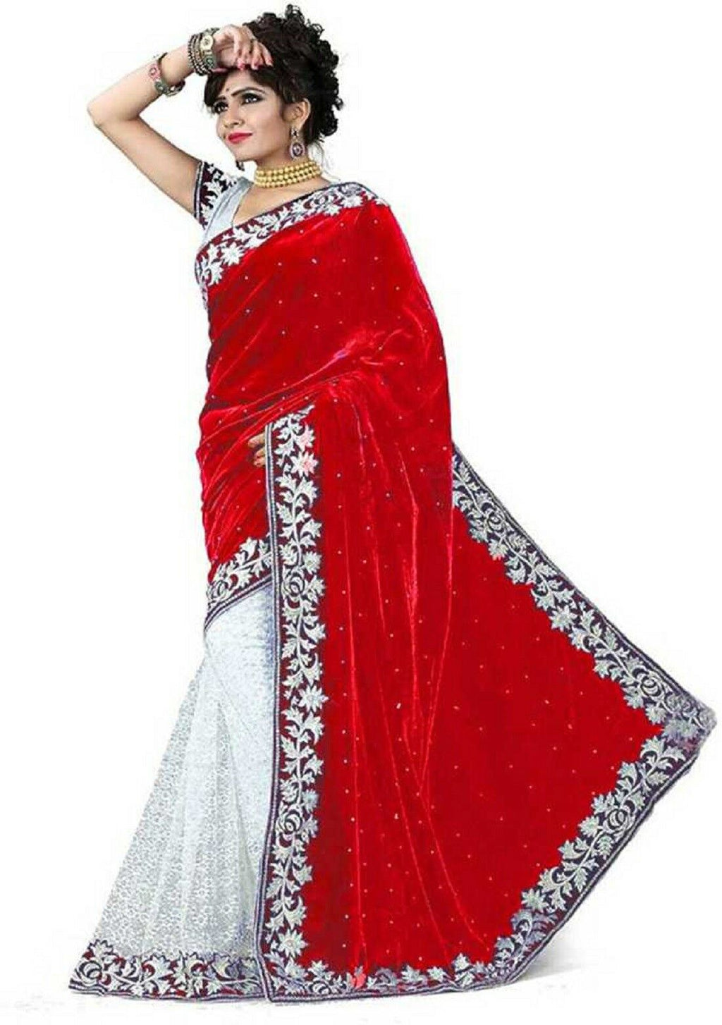 Red Velvet Acro Wool Designer Saree With Blouse